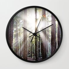 Sunburst Through the Redwoods Wall Clock