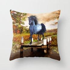 Horse on the Lake Throw Pillow