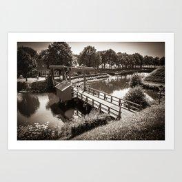 Bourtange, Bridge in Sepia (Bourtange - Groningen ; The Netherlands) Art Print