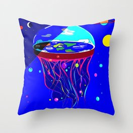 Flat Earth Jellyfish Spaceship Throw Pillow