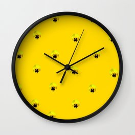 YELLOW  PANSY FLOWERS SPRINKLES GOLDEN YELLOW Wall Clock