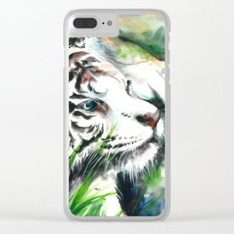 WHITE TIGER WATERCOLOR Clear iPhone Case