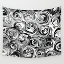 Onyx Black and White Paint Swirls by abstractcolor