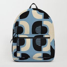 Retro Mid Century Modern Pattern 115 Black Blue and Beige Backpack
