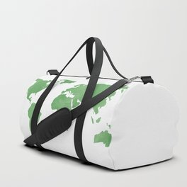 World Map - Mint Emerald Green Watercolor on White Duffle Bag