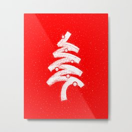 Christmas Tree Red Metal Print