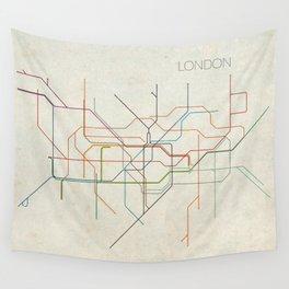 Minimal London Subway Map Wall Tapestry