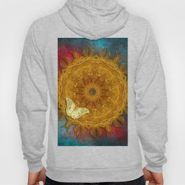 Magical fire mandala and gold butterfly Hoody