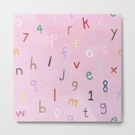Synaesthesia Alphabet Pink Metal Print