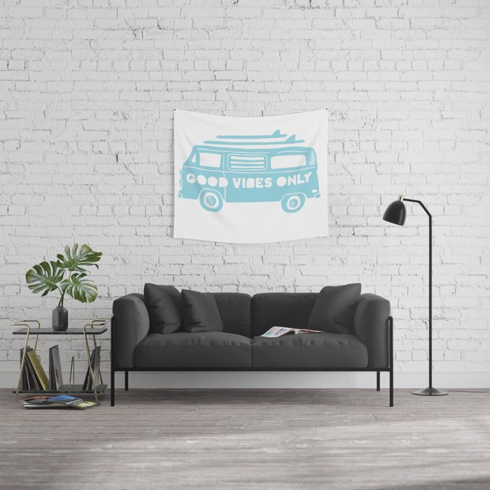 Good Vibes Only retro surfing Camper Van Wall Tapestry