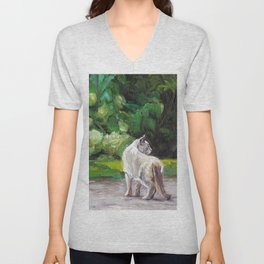 Cat Adventure by the Hydrangea &Trees Unisex V-Neck