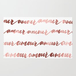 Amour French Love Script Rose Gold Typography Pattern 2 Rug