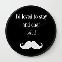 moustache Wall Clocks featuring Moustache  by  Alexia Miles photography