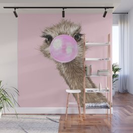 Sneaky Ostrich with Bubble Gum in Pink Wall Mural