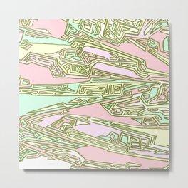 Pink Crazy Abstract Maze Metal Print