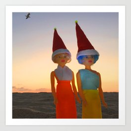 Hazel & Loy Beach Art Print
