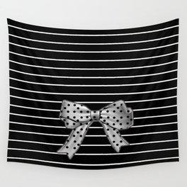 Polka Dot Bow + White Pinstripe Wall Tapestry