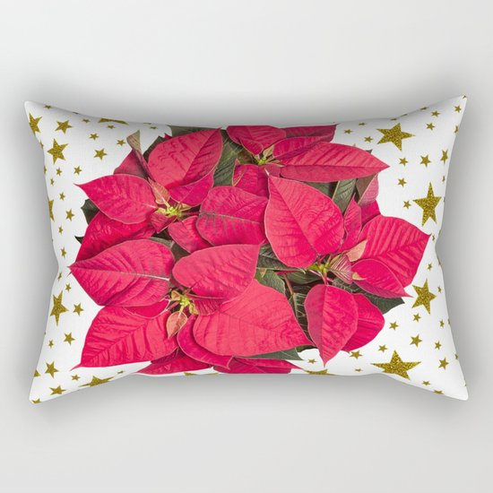 Red Christmas flower and sparkly gold stars Rectangular Pillow