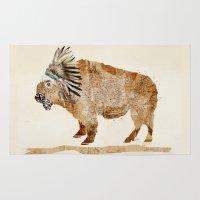 buffalo Area & Throw Rugs featuring buffalo by bri.buckley