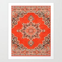 N166 - Orange Heritage Traditional Moroccan Hippie Style Design Art Print