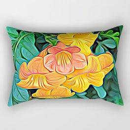 Orange Flowers of Flowing Circuitry Rectangular Pillow
