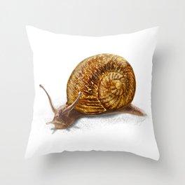 Garden snail art print Throw Pillow