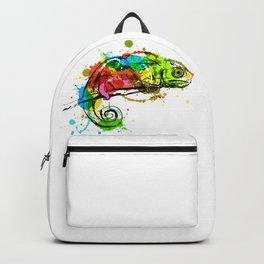 Colored hand sketch chameleon Backpack