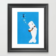Beluga Whale Playing the Ukulele Framed Art Print