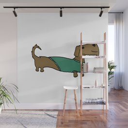 Daschund with sweater Wall Mural
