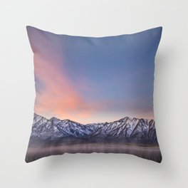 """Pretty in Pink"" -- an Eastern Sierra sunrise Throw Pillow"