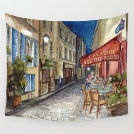 Postcards from Paris - Montmartre by Night: Le Tire-Bouchon Creperie Wall Tapestry