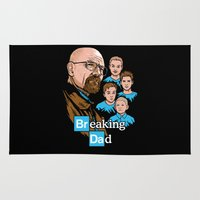 dad Area & Throw Rugs featuring Breaking Dad by harebrained