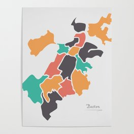 Boston Massachusetts Map with neighborhoods and modern round shapes Poster