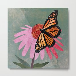 Orange Monarch Butterfly on pink Coneflower. Textured Illustration / Painting Metal Print