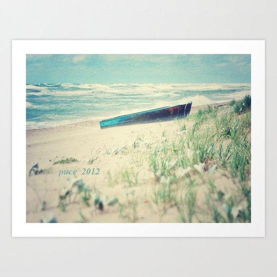Boat at the sea Art Print