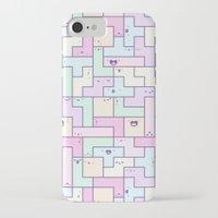 tetris iPhone & iPod Cases featuring Kawaii Tetris by KiraKiraDoodles