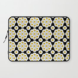 Daisies on black pattern Laptop Sleeve