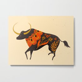 Bull Folk Art Illustration Metal Print