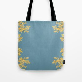 Mustard and Gold Leaves on Teal Blue Tote Bag