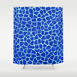 Blue Glitter Giraffe Print Shower Curtain