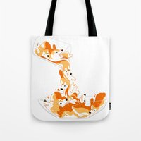 physics Tote Bags featuring Liquid Physics Corgis by Anya McNaughton