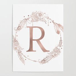 Letter R Rose Gold Pink Initial Monogram Poster