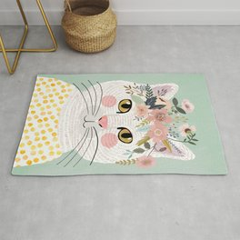 White flowers with floral crown Rug