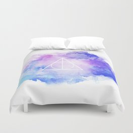 watercolor deathly hallows Duvet Cover