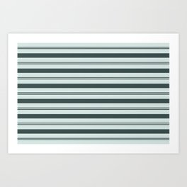 Night Watch Color of the Year Thick and Thin Horizontal Stripes on Cave Pearl Light Mint Green Art Print