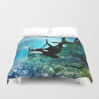 orca Duvet Covers featuring Orca by nicky2342