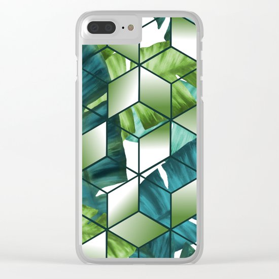 Tropical Cubic Effect Banana Leaves Design Clear iPhone Case