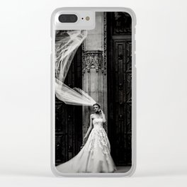 Black and White Bride Clear iPhone Case