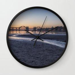 Siuslaw River Bridge and Florence at Dusk, No. 2 Wall Clock