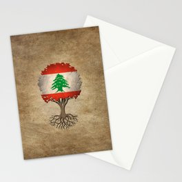 Vintage Tree of Life with Flag of Lebanon Stationery Cards
